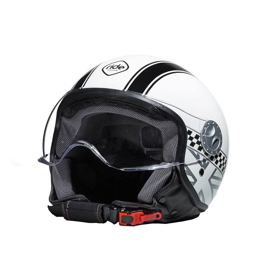 Casco Moto Jet RIDE 701 Damier Blanco M